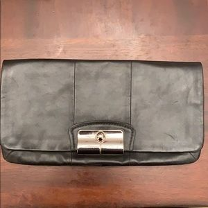 Black coach leather clutch